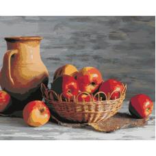 Яблоки в корзине живопись на холсте 40х50