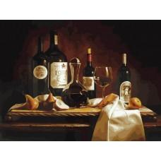 Вино и груши живопись на холсте 30*40см 30х40 Белоснежка 317-AS