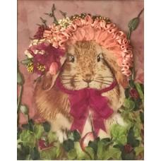 Набор Нарядный кролик вышивка лентами 18,5х23,5 Каролинка КЛ(Н)-4001