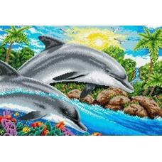 Дельфины Рисунок на ткани 36х53 Каролинка ТКБ 2003