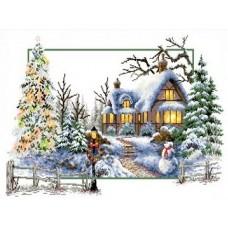 Набор Зимняя сказка канва с рисунком 32х47 Каролинка КТКН 121 (Р)