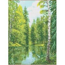 Озеро в лесу Рисунок на канве 23х30 Каролинка КК 026