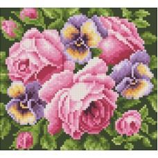 Розы и анютины глазки набор для выкладывания стразами 20х18 Паутинка М-233