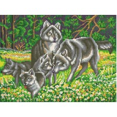 Волчья семья рисунок на канве 29/39 29х39 Конек 7819