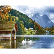 Озеро в горах живопись на холсте 40х50см