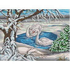 Лебеди на пруду рисунок на канве 45/60 45х60 Конек 7817