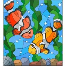 Рыбки клоуны Набор для вышивки гладью 22х25 (15х17) Матренин Посад 5521/ГЛ