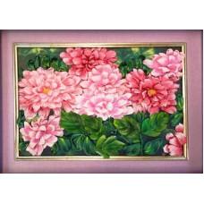 Набор Розовые хризантемы вышивка лентами 18х24,5 Каролинка КЛ(Н)-4009
