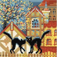 Город и кошки. Осень набор для выкладывания стразами 20х20 Риолис АМ0049