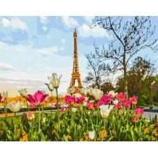 Весенний Париж живопись на холсте 40х50см