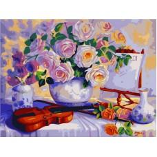 Натюрморт со скрипкой живопись на холсте 40х50см 40х50 Paintboy G378