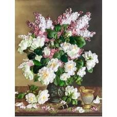 Набор Белые розы и сирень вышивка лентами