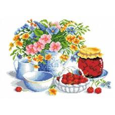 Набор Вишневое варенье канва с рисунком 23х30 Каролинка КТКН 153 (Р)