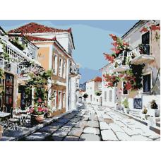 Прогулка по солнечной улице живопись на холсте 30х40