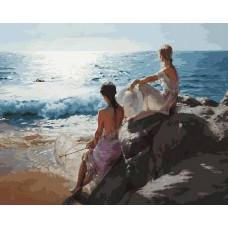 У самого синего моря живопись на холсте 40*50см 40х50 Белоснежка 937-AB