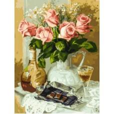 Розы и шоколад  живопись на холсте 30*40см 30х40 Белоснежка 283-AS
