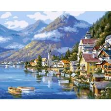 Хальштадт. Австрия живопись на холсте 40*50см 40х50 Белоснежка 363-CG