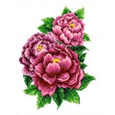 Набор Розовые пионы счетный крест 23х30 Каролинка КТКН 126
