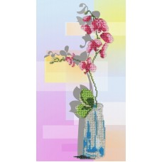 Орхидея  набор габардин+бисер 32х18 МП-Студия БГ-180