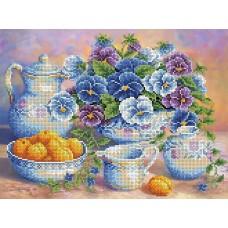 Голубой букет Рисунок на ткани 35,7х26,5 Каролинка ТКБЦ 3029