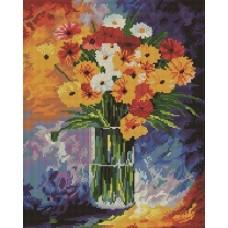 Герберы мозаика на подрамнике 40х50 40х50 Painting Diamond GF0370