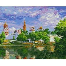 Новодевичий монастырь живопись на холсте 40*50см 40х50 Белоснежка 019-AB