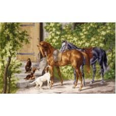 Набор Лошади у крыльца 30,5х49 Золотое руно ОО-004