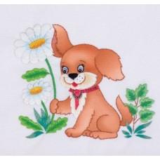 Романтичный щенок Набор для вышивки гладью 22х25 (13х15) Матренин Посад 5500/ГЛ