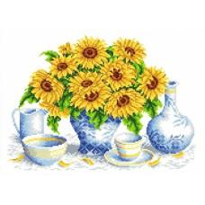 Набор Подсолнухи в вазе канва с рисунком 23х30 Каролинка КТКН 154 (Р)
