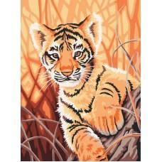 Тигренок в джунглях живопись на холсте 30*40см 30х40 Белоснежка 217-CE