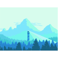 Горы и маяк живопись на холсте 30х40