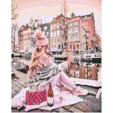 Девушка с вином у канала живопись на холсте 40х50
