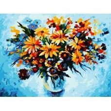 Разноцветные ромашки живопись на картоне 30*40см 30х40 Белоснежка 3012-CS