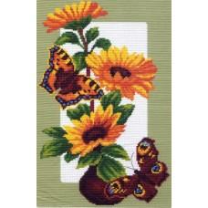 Подсолнухи и бабочки Набор для вышивания крестом 28х37 (20х30) Матренин Посад 0473/Н