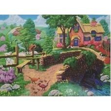 Деревня у реки мозаика на подрамнике 40х50 40х50 Painting Diamond GF1563