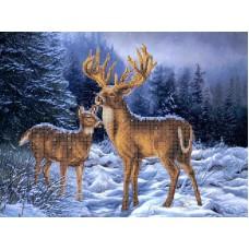 Набор Олени в зимнем лесу бисер