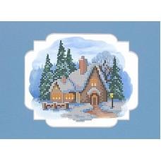 Пряничный домик Набор для вышивания с бисером и паспарту 24х26 (12х15) Матренин Посад 0144/БП