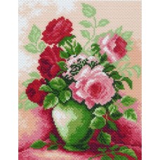 Розы в вазе Рисунок на канве 28/37 28х37 (18х24) Матренин Посад 0844-1