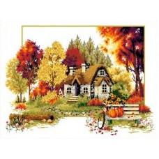 Набор Осенний домик канва с рисунком 32х47 Каролинка КТКН 120 (Р)