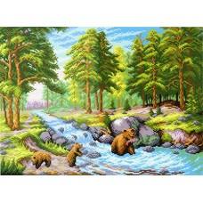 Лесной ручей Рисунок на канве 40х50см 29х40(40х50) МП-Студия СК-024
