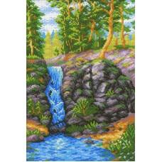 лесной водопад Рисунок на канве 30х40см 30х20(30х40) МП-Студия СК-078