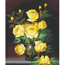 Желтые розы набор для выкладывания стразами 60х72 Jing Cai Ge Diamond Painting DIY (Honey Home) 1620
