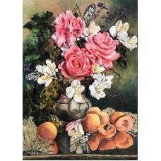 Набор Розы с фруктами вышивка лентами 27х35 Каролинка КЛ(Н)-3015