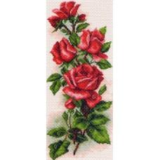 Алые розы Набор для вышивания крестом 24х47 (15х37) Матренин Посад 1074/Н