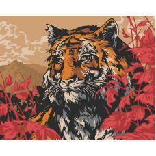 Японский тигр живопись на холсте 40х50