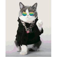 Модный кот живопись на холсте 40х50