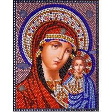 Казанская Богородица набор для выкладывания стразами 28х22 Преобрана 25