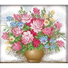 Садовые цветы набор для частичной  выкладки стразами 56х67 Солнце H-4163