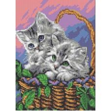 Набор Мамы и их зверята. Котята канва с рисунком 20,5х15,8 Каролинка КТКН 156 (Р)