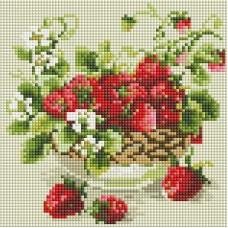 Садовая земляника Мозаика на подрамнике 20х20 20х20 Белоснежка 394-ST-S